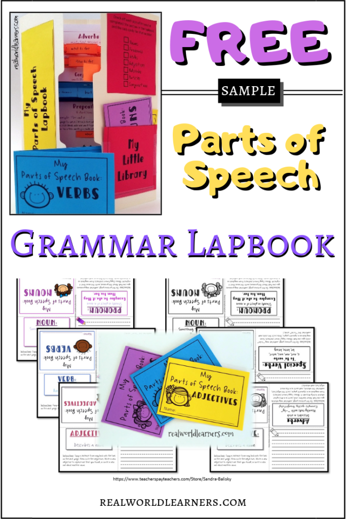 Free sample of a complete Parts of Speech grammar lapbook unit