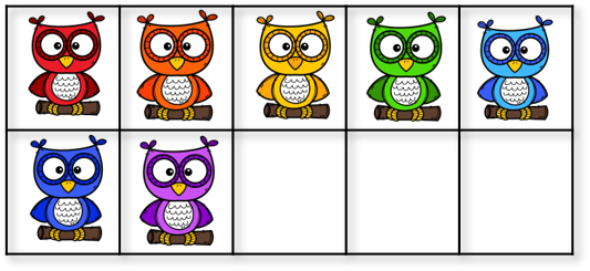 7 owls in a ten frame