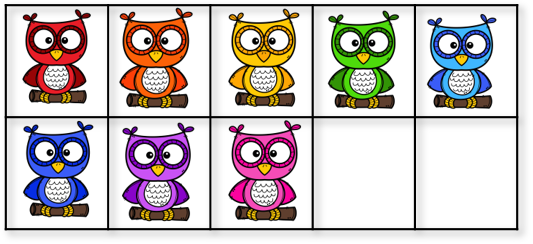 8 owls in a ten frame
