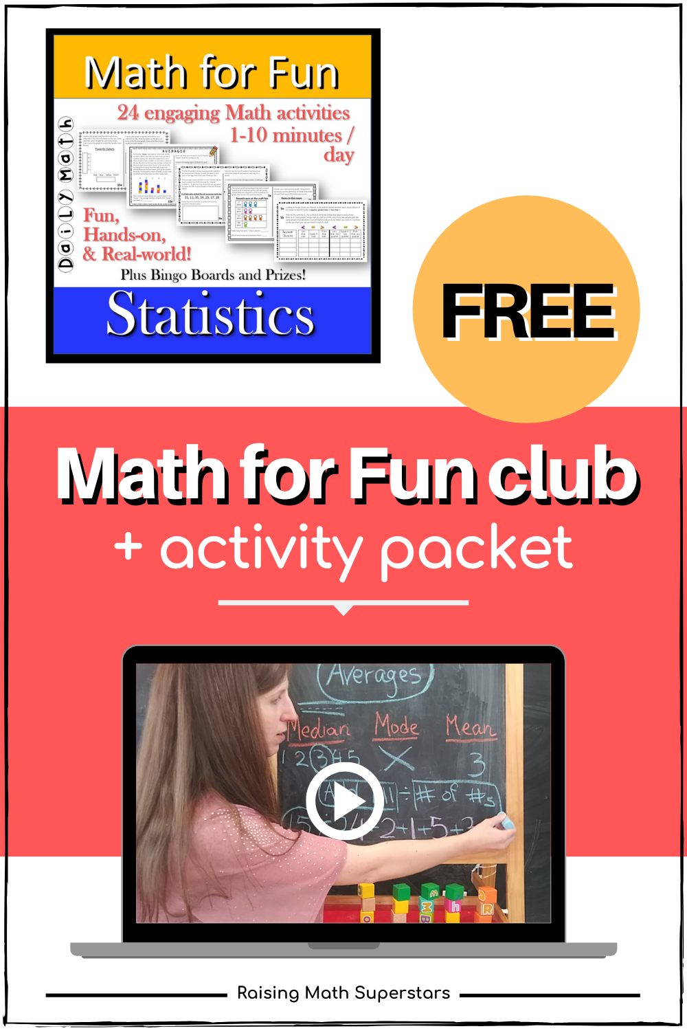 Free Math for Fun club and complete activity set